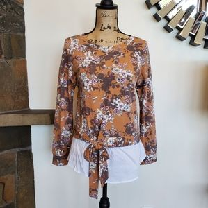 NWT Annabelle Mustard Floral Blouse